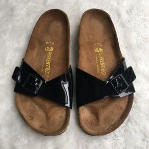 Birkenstock Womens Black Patent Leather Sandals 9